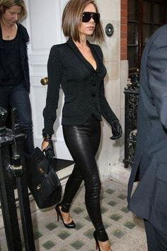 Victoria Beckham black leather outfit