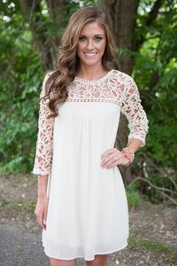 Crochet Top Chiffon Dress - Cream