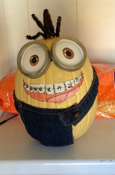 Minion Pumpkin With Braces In Dental Office Uniforms
