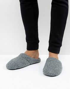 Slip On Slippers In Grey With Christmas Pug Embroidery - Grey Asos isACZb87