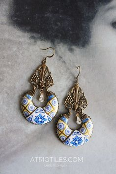 Portugal Antique Azulejo Tile Chandelier Earrings - Bonfim  PORTO (see actual Facade photo) - Majolica - Igreja Sao Nicolau Gift Boxed