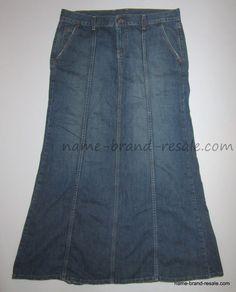 LUCKY BRAND RARE DESTINY Skirt 14 32 Long PEPLUM Flare Denim Jean Mermaid MODEST #LuckyBrand #ALine