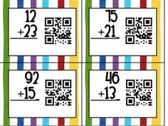 QR Code Double Digit Addition Without Regrouping FREE