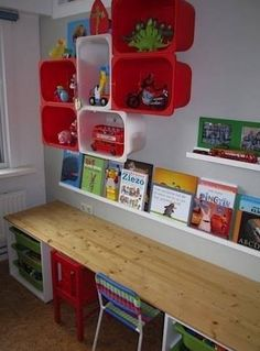 Colorful Shelving made from IKEA plastic boxes. I also like how the table / workspace is done. Desk along the wall. Want a desk for kids' playroom. Trofast Ikea, Ideas Habitaciones, Childrens Desk, Home Daycare, Kids Room Organization, Toy Rooms, Kids Rooms, Toy Storage, Storage Ideas