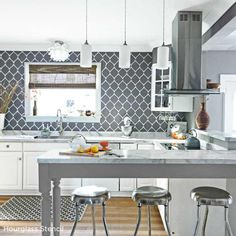 Paint the Hourglass Allover Stencil in gray and white to create a gorgeous kitchen backsplash! http://www.cuttingedgestencils.com/modern-stencil.html