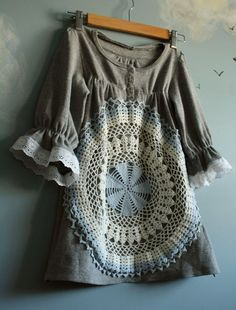 Childs Gray Vintage Doily Dress Upcycled Lace Blue by MyFairMaiden