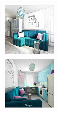 "Гостиная «с любовью к бирюзе» - Living room ""In love with turquoise"" #turquoise #livingroom #interiordesign #murrravyova"