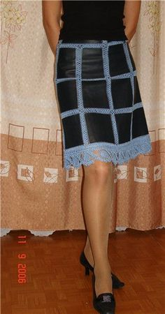 Ru / Фото 114 - Ткань И Вязание - Aerina Kleidunghäkeln - Juul Lo Kleidunghäkeln - Diy Crafts - hadido Black Crochet Dress, Crochet Skirts, Crochet Fabric, Crochet Quilt, Crochet Blouse, Knit Crochet, Denim And Lace, Sewing Clothes, Crochet Clothes