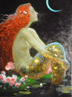 HD Print art oil painting on canvas Home Decor Wall Art Mermaids Folklore Russe, Victor Nizovtsev, Mermaid Artwork, Creation Photo, Mermaid Tale, Mermaids And Mermen, Fantasy Girl, Beautiful Artwork, American Artists
