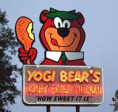 "Vintage Signs Features - Yogi Bear's Honey Fried Chicken ""How Sweet It Is"" Classic Neon Sign . Old Neon Signs, Vintage Neon Signs, Old Signs, Advertising Signs, Vintage Advertisements, Vintage Ads, Roadside Signs, Roadside Attractions, Posters Vintage"