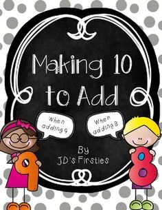 This product walks your students through the making 10 to add 9 or 8 strategy.  Several work mats are included to give your students a ton of practice with this strategy.  Spinners and recording sheets are also included to turn this teaching tool into a math tub game.