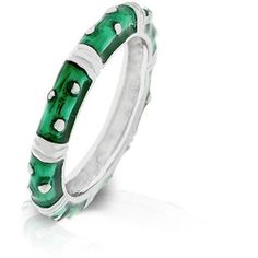 Enamel Silver Ring Emerald Green Stackable Epoxy Celtic Plus Size 9 10 USSeller #Band