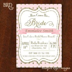 Bridal Shower invitation Gold Blush by BradfordRoadDesigns on Etsy