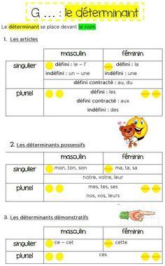 Mémo sur le déterminant (grammaire en couleur) | MA MAITRESSE DE CM1-CM2