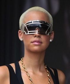 Amber Rose in Linda Farrow Face Shield sunglasses in New York City.