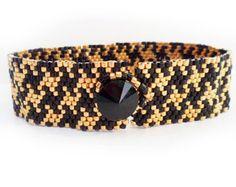 -Pata de gallo Cuff Bracelet - Peyote abalorios pulsera de perlas pulsera de pata de gallo en Copa Oro y negro