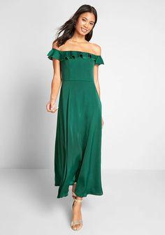 Forest Green Dresses, Off The Shoulder, Shoulder Dress, Green Maxi, Flowy Skirt, Bridesmaid Dresses, Wedding Dresses, Modcloth, Ruffle Dress