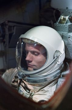 Astronaut and Engineer Neil Armstrong on a one-day Gemini VIII mission in March of 1966 Gemini was a stepping-stone project working toward the upcoming Apollo missions (NASA)