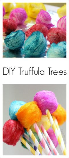 Seuss Craft DIY Truffula trees - a colorful Dr. Seuss craft kids can make after reading The LoraxDIY Truffula trees - a colorful Dr. Seuss craft kids can make after reading The Lorax Toddler Crafts, Preschool Crafts, Crafts For Kids, Craft Kids, Preschool Themes, Children Crafts, Toddler Preschool, Kids Fun, Dr Seuss Party Ideas