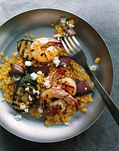 Grilled Shrimp and Vegetables with Pearl Couscous | Epicurious.com