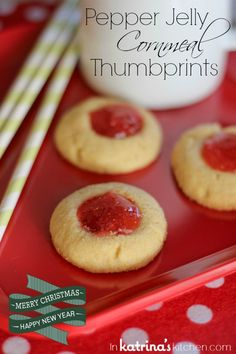 These flavorful Pepper Jelly Cornmeal Thumbprint Cookies will surprise you with their soft cornmeal crumb and spicy, sweet filling. Spice things up this holiday season!