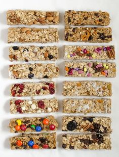 8 Easy Granola Bar Recipes You Can Make at Home! - 8 easy homemade granola bar recipes that come together in a snap. Granola Bar Recipe Easy, Healthy Granola Bars, Healthy Snacks, Cranberry Almond Granola Bar Recipe, Granola Bar Recipes, Healthy Cereal Bars, No Bake Granola Bars, Healthy Bars, Protein Snacks