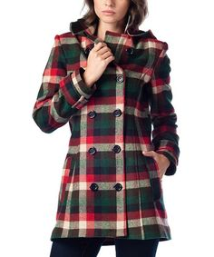 Loving this Green Plaid Hooded Peacoat on #zulily! #zulilyfinds