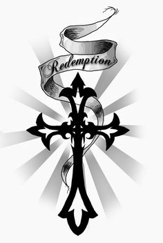 Redemption Banner And Tribal Cross Tattoo Design