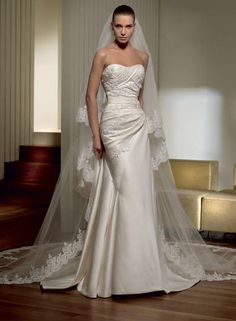 Admirable Cost-efficient Strapless Applique Ruched Satin Sweep Train Designer Wedding Dress for Brides
