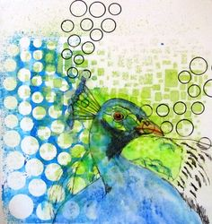 Art journal page Peacock Kittys art & crafts