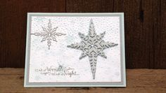 Christmas Card made from the 2016 Holiday Catalog Starlight Thinlits and Star of Light Stamp Set. Used all Stampin up products. Softly falling Embossing folder. Soft Sky, Slate Gray, and Whisper White Cardstock. Soft Sky and Slate Gray Inks. Silver Glimmer Paper and Rhinestones for bling.