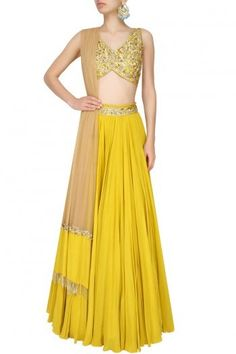 Mustard yellow and gold floral embroidered blouse and lehenga set