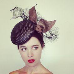 Mocha and black 'Stella' headpiece. Designed for Hugo Boss, Spring 2014   Louise MacDonald, Melbourne