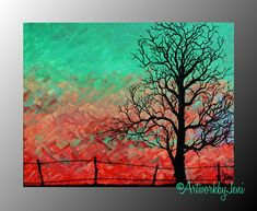 """Colorful Tree Landscape pAiNtiNg Country Landscape Bright Colorful ArT on CaNvAs oRiGiNaL 14"""" x 11"""" by ArtworkbyJeni - """"Life in the Field"""""""