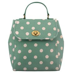 Cath Kidston Green button spot turnlock backpack
