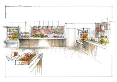 RETAIL FOOD SERVERY - in-house catering is a fairly large part of the catering sector . This sketch was for LeeProjects , for an on-site catering outlet .