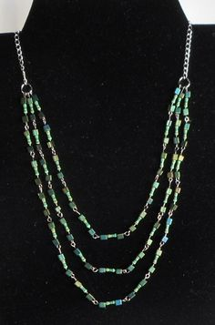Jackie Johnson JakDesigns Green cubes and resistors necklace A necklace of three strands of small green cubes and resistors. Australian Artists, Cubes, Strands, Artisan, Chain, Store, Green, Jewelry, Design