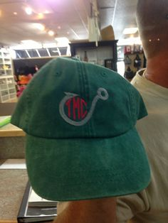 Fish hook with initials on a hat. Monogram Hats, Custom Embroidery, Fish Hook, Cricut Explore, Vinyls, Initials, Baseball Hats, Fashion, Moda