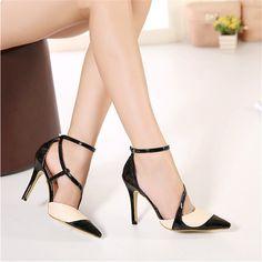 d619a0646b Barato Moda feminina bico fino salto alto ver amp atilde o cinta fivela  sapatos casuais
