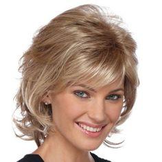 Trendy Fluffy Side Bang Elegant Charming Medium Wavy Layered Human Hair Capless Wig For Women