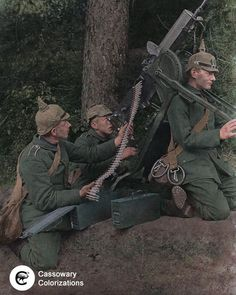 """WW1fotohistory on Instagram: """"Three soldiers from the Grenadier 119th Regiment , """" Queen Olga """" from the XIII Württemberg Corps operating a MG 08 as an anti - aircraft…"""" Ww1 History, Women In History, World History, History Pics, Ancient History, Native American History, American Civil War, British History, Military Art"""