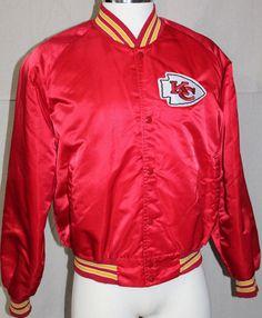 Kansas City Chiefs Satin Jacket  NFL Football Vintage KC Chalk Line Size Large #CHALKLINE #KANSASCITYCHIEFS