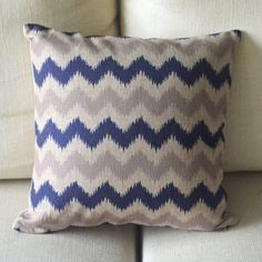 cotton linen Fabrics shade pillow pillow sham Zig Zag Pillow Cover pillow pattern grey and blue cushion cover case pillowcase