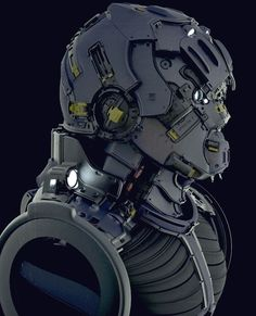 p for a hard surface bust I'm working on, concepting in zbrush and then I'm going to re-model over it in xsi. Cyberpunk, Robot Concept Art, Armor Concept, Robot Design, Helmet Design, Arte Ninja, Mekka, Sci Fi Armor, Future Soldier