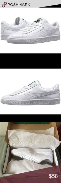 PUMA Matte & Shine Sneakers * Shine with style and comfort in the Basket Matte & *Shine sneaker.  * Original Price: $70 * Size 8.5  * Leather and synthetic upper. * Lace-up closure. * Brand logo hits at tongue and side. * Synthetic lining. * Lightly padded footbed. * Imported. * Measurements:     * Weight: 12 oz Puma Shoes Sneakers