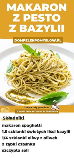 Recipe for basil pesto pasta - Przepisy - Makaron Basil Pesto Pasta, Basil Pesto Recipes, Pasta Recipes, Cooking Recipes, Healthy Recipes, Easy Eat, Health Eating, Polish Recipes, Food Porn