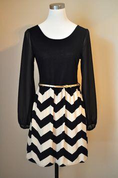 Black Zigzag Print Woven Dress