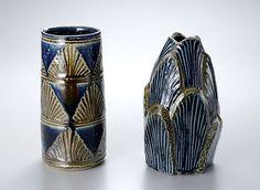 "Tomoo Hamada, Vase, salt glaze with fluted decoration, stoneware, 9.5 x 4.5 x 4.5""; Vase, salt glaze with fluted decoration, stoneware, 19 x 5.75 x 5.75"""