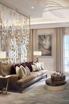 Elegantes Wohnzimmer Design Mit Herrlicher Wandgestaltung #LampWohnzimmer