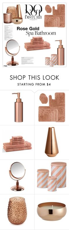 """Rose Gold Bathroom Decor"" by marion-fashionista-diva-miller ❤ liked on Polyvore featuring interior, interiors, interior design, home, home decor, interior decorating, Royal Velvet, Kassatex, H&M and ferm LIVING"